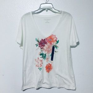 Lucky Brand V-neck Floral Graphic Tee Shirt Sz L